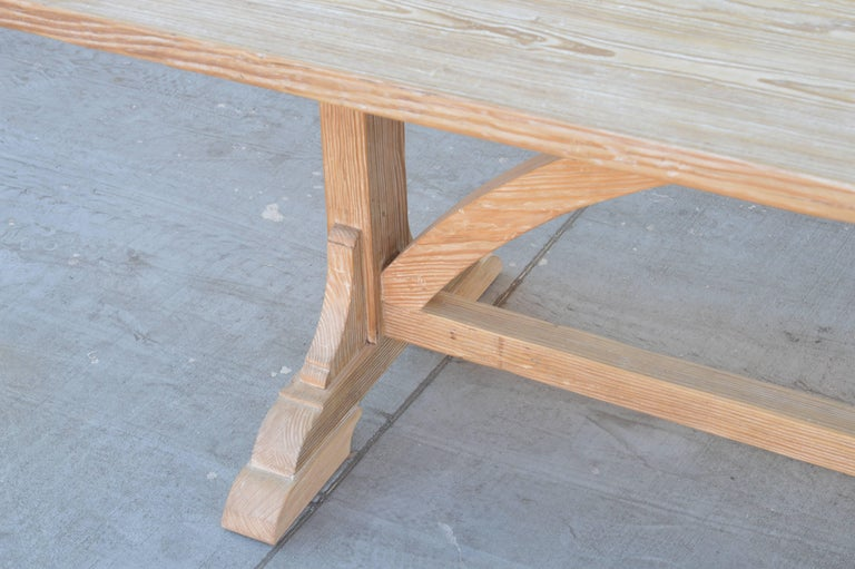 Arts and Crafts Expandable Farm Table in Vintage Heart Pine, Made to Order by Petersen Antiques For Sale