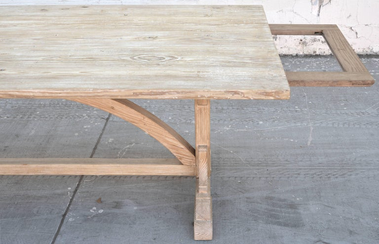 American Expandable Farm Table in Vintage Heart Pine, Made to Order by Petersen Antiques For Sale
