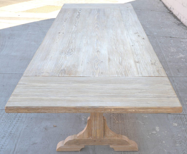 Contemporary Expandable Farm Table in Vintage Heart Pine, Made to Order by Petersen Antiques For Sale