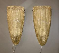 Pair of Barovier Gold-Flecked Murano Sconces