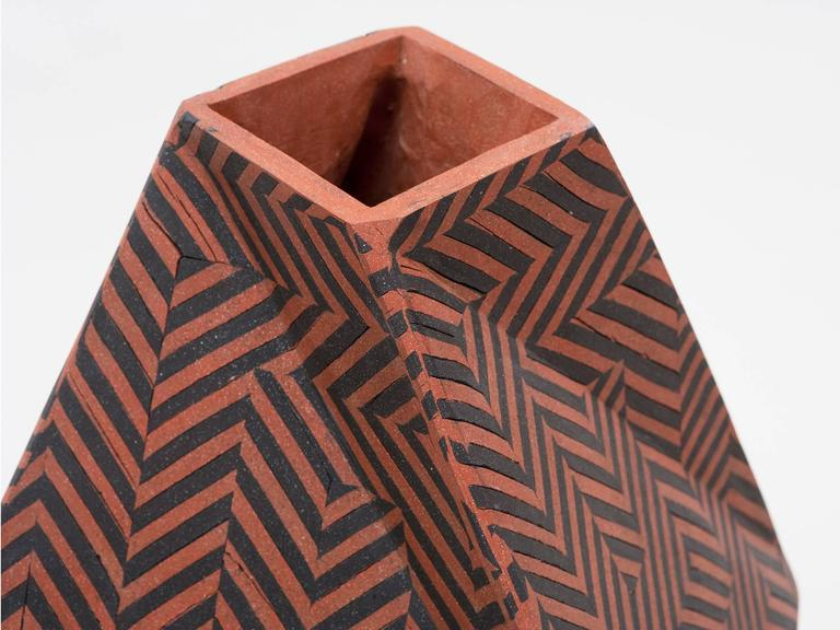 Beautiful large hand-built, slab-constructed ceramic vase by Brooklyn-based artist Cody Hoyt. Terracotta and black inlaid ceramic forms a mesmerizing geometric pattern.