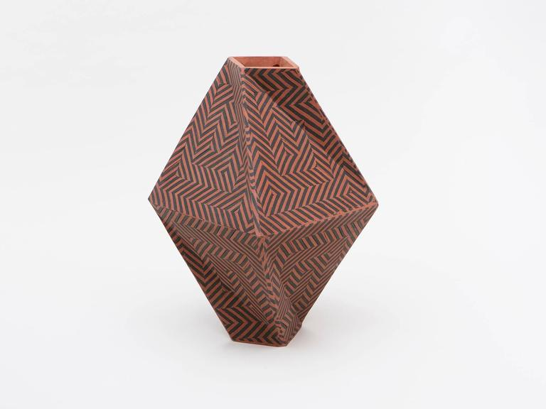 American Tall Twisted Box Ceramic Vase by Cody Hoyt For Sale