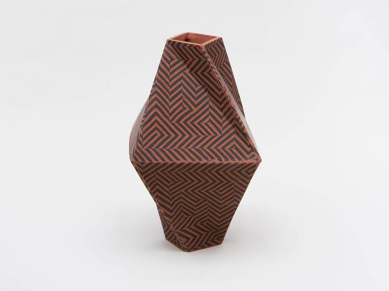 Inlay Tall Twisted Box Ceramic Vase by Cody Hoyt For Sale