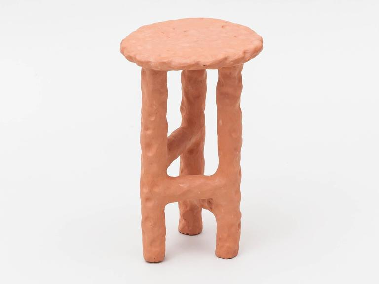 Handmade terracotta side table by New York based artist Chris Wolston. Can be used indoors or outdoors. Each table is unique. Custom works available.