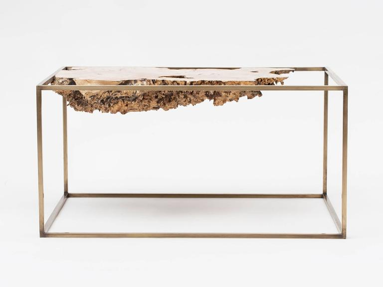 Bronze And Wood Side Table Or Sculpture By Huy Bui For