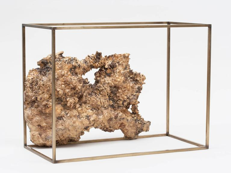 American Bronze and Wood Side Table or Sculpture by Huy Bui For Sale
