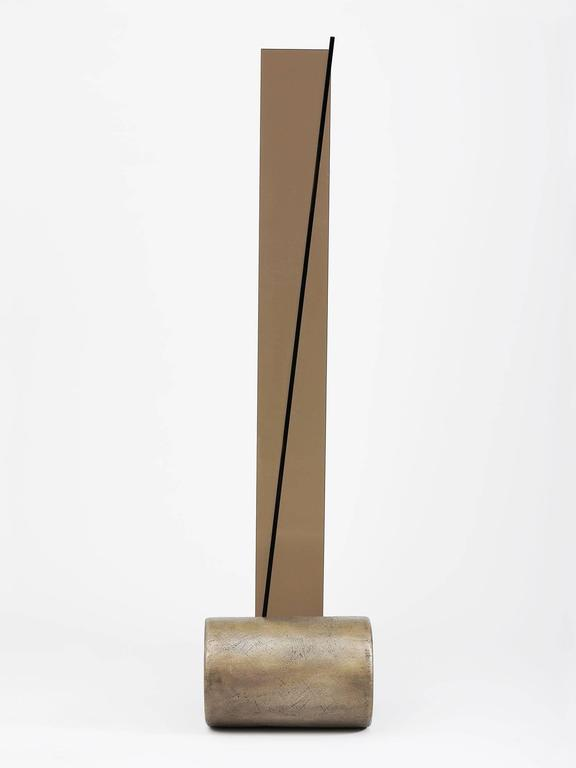 Glass and Bronze Standing Mirror by Brian Thoreen 2