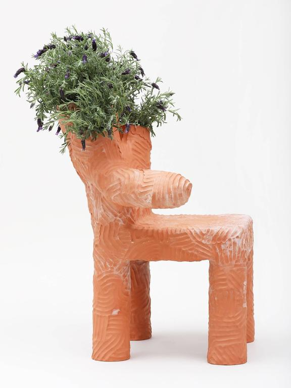 Large terracotta chair and planter, handmade by New York and Medellín-based artist Chris Wolston. Made to order with a lead time of 10-12 weeks.