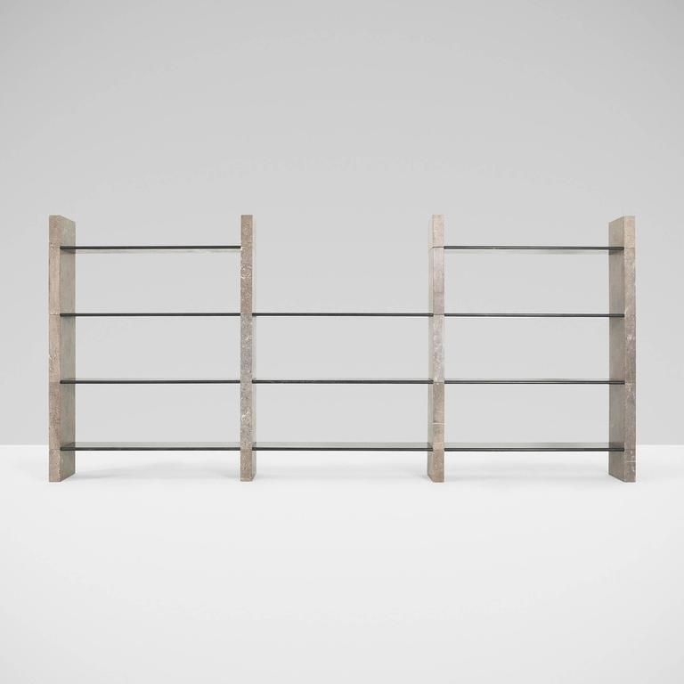 Extremely rare architectural shelving unit comprised of 31 modular pieces of serpentino and Mondragon marble. Manufactured by Skipper. The shelves were made in an edition of 20 with this being one of the four known to exist. Signed with partially