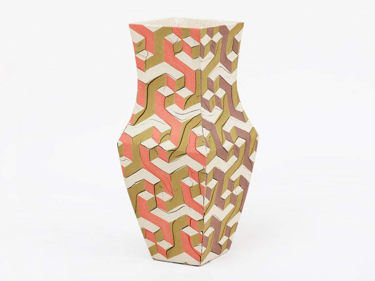 Pair of hand-built ceramic vessels made from inlaid pieces of hand-colored green, orange, gold, blue, brown and white clay in a trompe l'oeil geometric repeat pattern. Made in Brooklyn by artist Cody Hoyt. Unique.