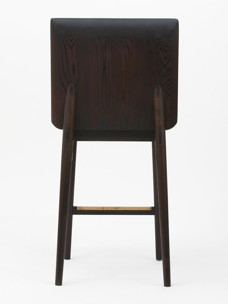 Contemporary Hand-Carved Redwood Counter Stool by Christopher Kurtz For Sale