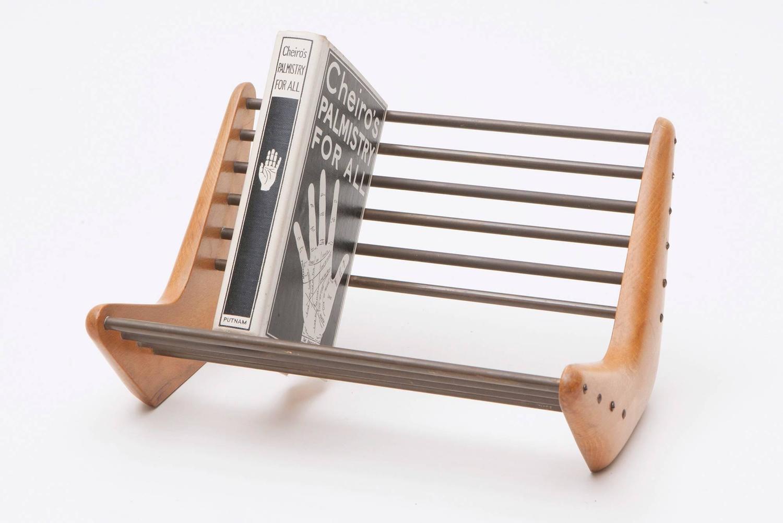 Wood Book Rack ~ Carl auböck wood and brass book rack at stdibs