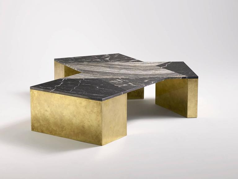 Geometric coffee table in mixed marble, brass, steel and wood by LA-based designer Brian Thoreen. This black version is an open edition. The green version is an edition of 8 + 2 AP that was designed exclusively for Design Miami, 2015.