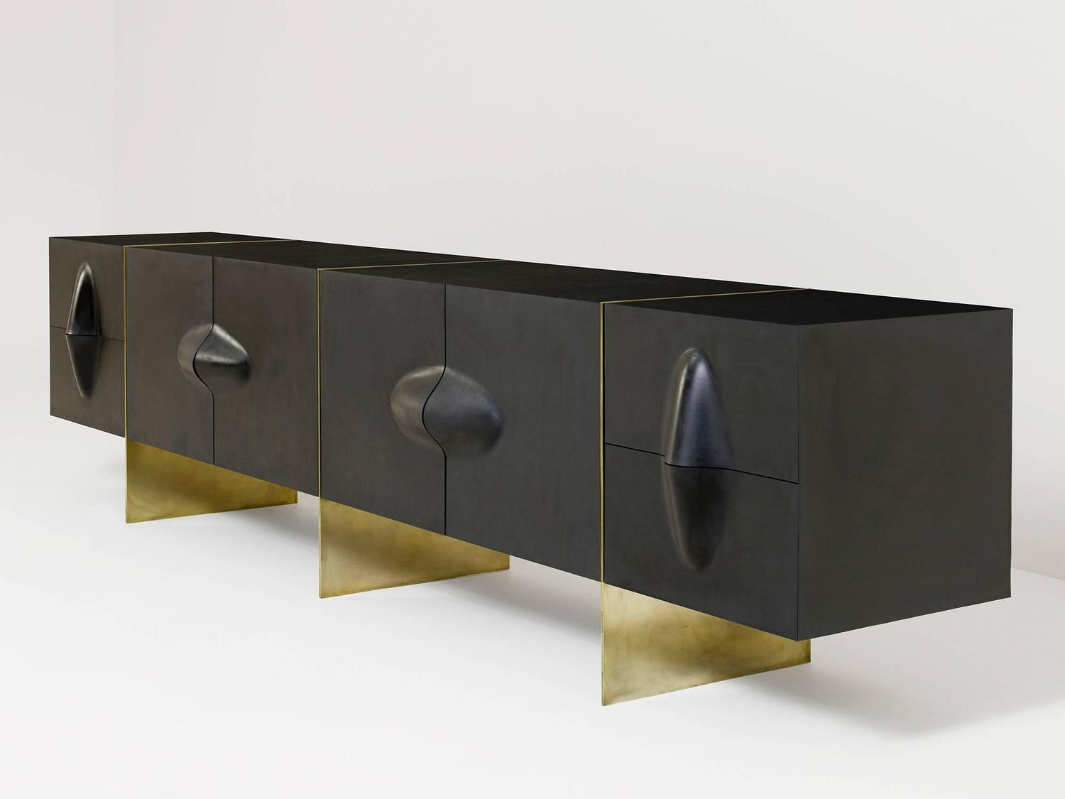 large brian thoreen rubber and brass credenza or sideboard for sale at