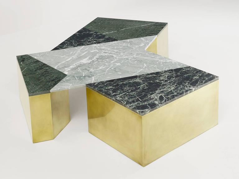 Geometric coffee table in mixed marble, brass, steel and wood by LA-based designer Brian Thoreen. This version, in green marble, was designed exclusively for Design Miami 2015. Other versions with custom metal finishes and marble configurations are