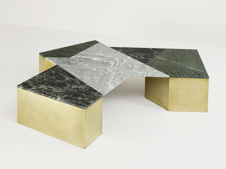 Modern Brian Thoreen Green Mixed Marble and Brass Coffee Table For Sale
