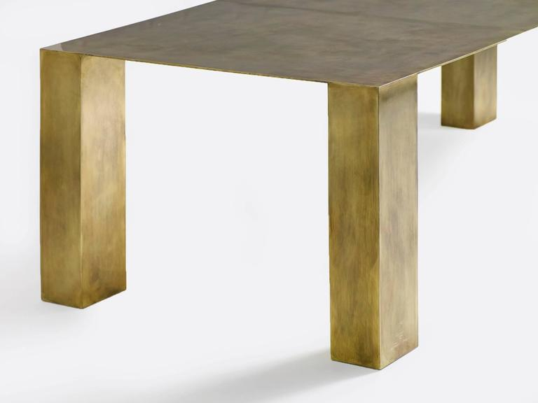 Amazing solid brass and steel dining table by LA-based designer Brian Thoreen. Custom sizes and finishes are available.