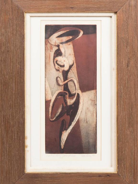 Framed red, white and black acid etching on paper by early 20th century American artist Thomas Lias. The frame is made of wood and linen, with gold leaf in the middle. Dated 1946.  Print dimensions: 16 x 7 inches Frame dimensions: 28.25 x 20.5 x