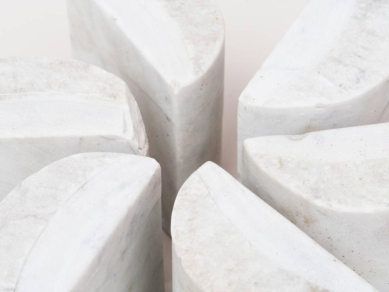 Minimalist Hanna Eshel Carrara Marble Sculpture For Sale