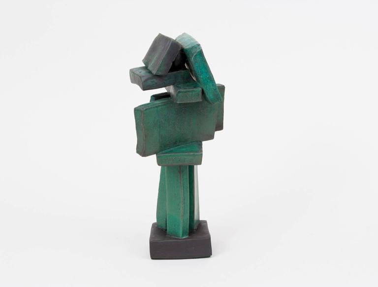 Modernist clay sculpture with organic green glaze by artist Judy Engel of upstate New York.