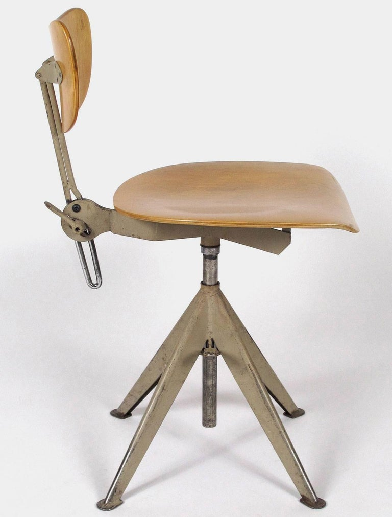 Mid Century Modern Bent Plywood Desk Chair By Odelberg Olsen For