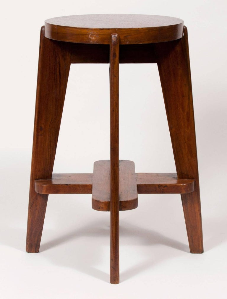 Modern Teak High Stool by Pierre Jeanneret for the City of Chandigarh For Sale