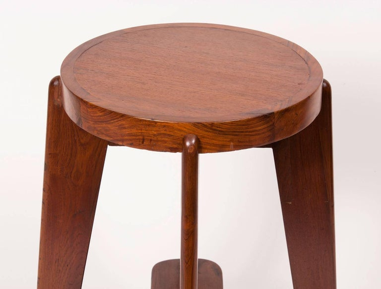 Indian Teak High Stool by Pierre Jeanneret for the City of Chandigarh For Sale