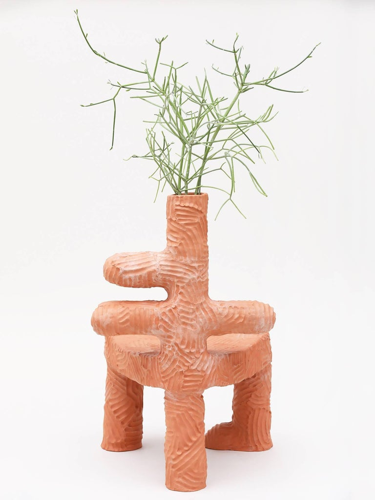 Chris Wolston Terracotta Plant Chair In Excellent Condition For Sale In New York, NY