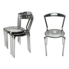 Six Stackable Polished Aluminium Dining Height Chairs by Allermuir, UK, 1998