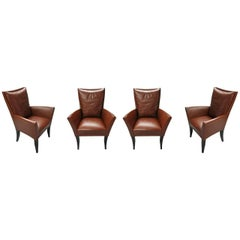 Four Leather Armchairs by Dakota Jackson, USA, 1990s