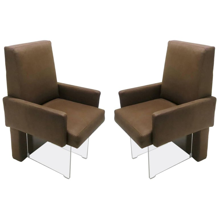 Pair of Leather and Lucite Dining Height Armchairs by Vladimir Kagan, USA