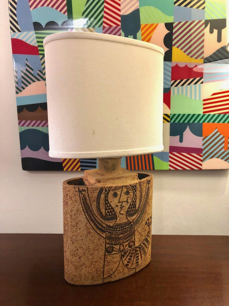 French Elliptical Ceramic Table Lamp by Roger Capron circa 1960 Made in France For Sale