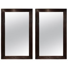Pair of Full Length Wooden Mirrors, Circa 1990