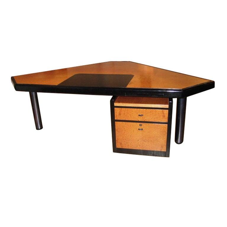 Executive Desk & Storage Cabinet by JL Bertet for Mobilier Intl., France 1982 For Sale