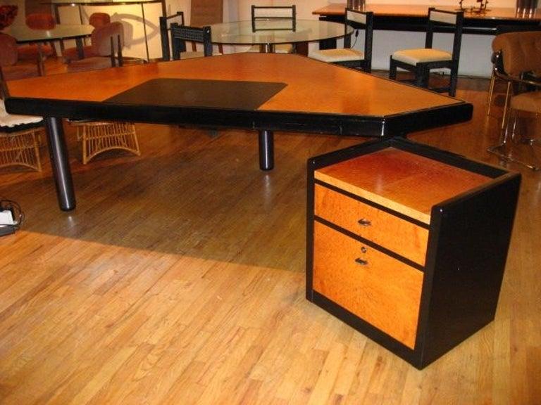 Mid-Century Modern Executive Desk & Storage Cabinet by JL Bertet for Mobilier Intl., France 1982 For Sale