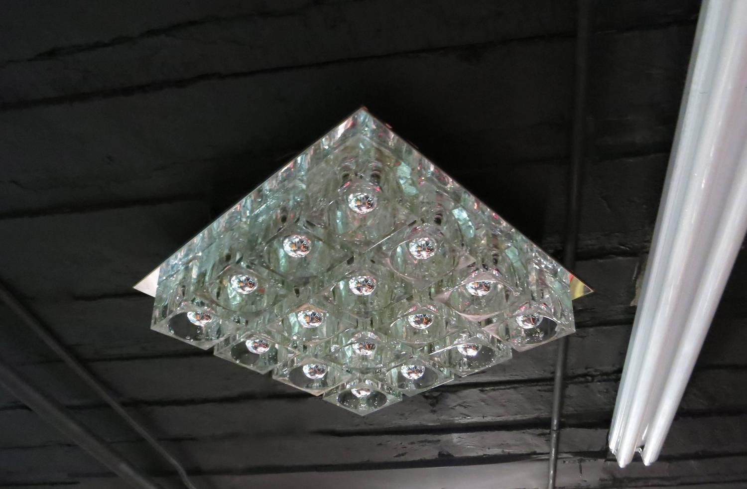 Pair Of Lights 16 Glass Blocks Each By Lightolier Circa 1975 Made In Usa For Sale At 1stdibs