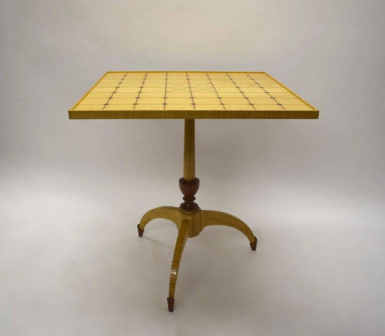 Unique Tilt-Top Dining, Game, or Center Table by Dale Broholm, USA 1992 In Excellent Condition For Sale In Jersey City, NJ