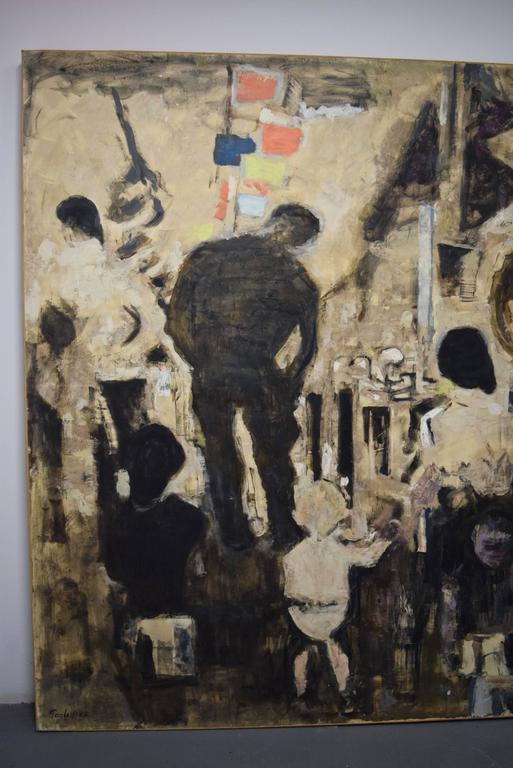 Beautiful Large-Scale Port-Scene Painting, Alexandre Sacha Garbell, France, 1967 For Sale 1