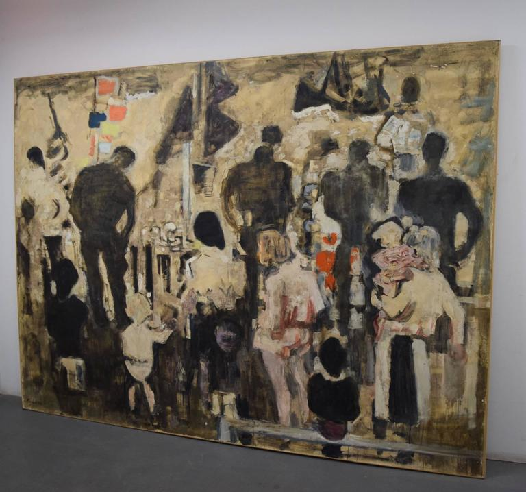 Beautiful Large-Scale Port-Scene Painting, Alexandre Sacha Garbell, France, 1967 For Sale 5