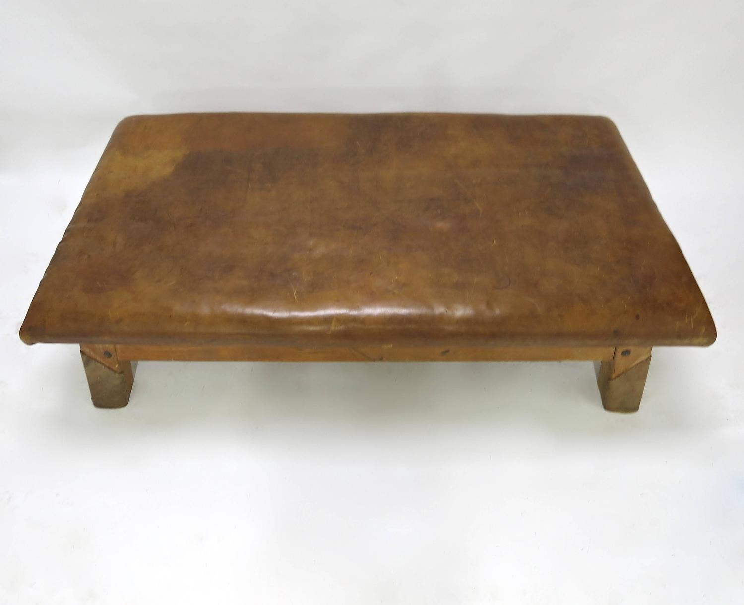 Vintage Leather Gym Bench Or Table Circa 1940 For Sale At