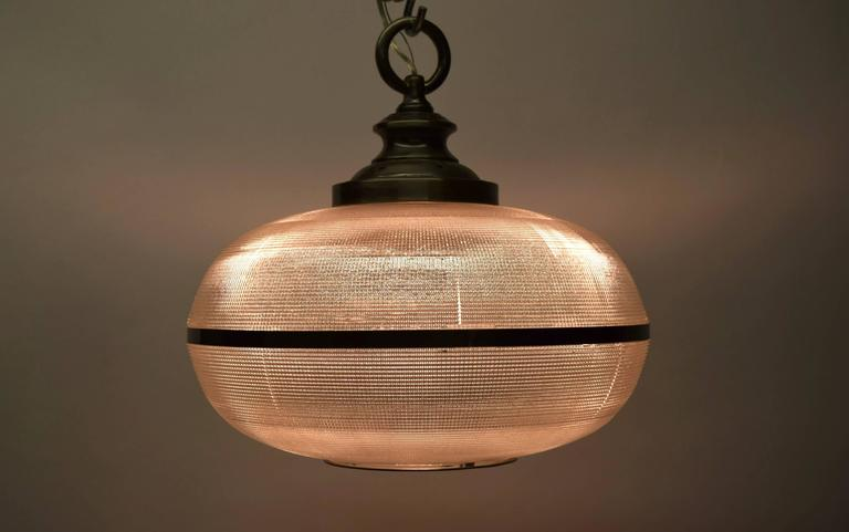 Set Of Three Holophane Ceiling Lights Circa 1950 Made In
