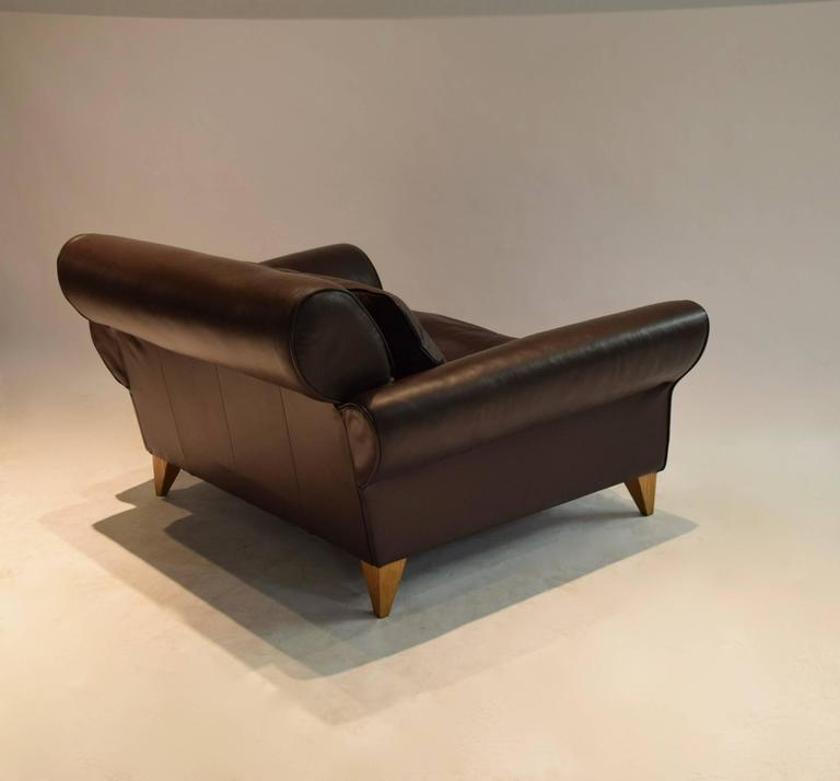 Wide Lounge Chair in Leather by Conran, UK 2000s For Sale ...