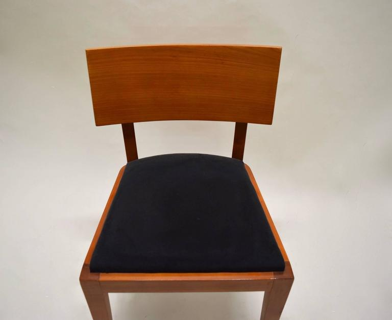 Stained Four Fruitwood Dining Chairs, France Circa 1950 For Sale