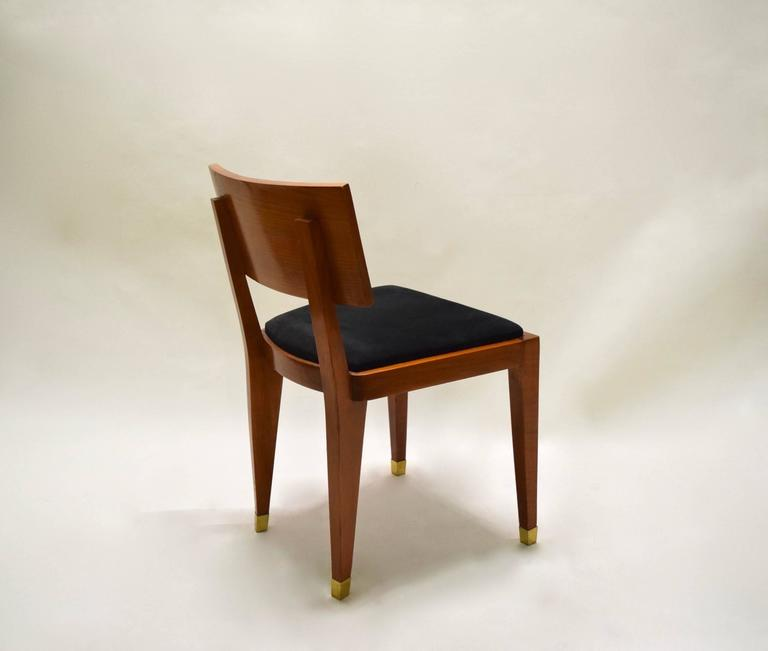 Four Fruitwood Dining Chairs, France Circa 1950 For Sale 1