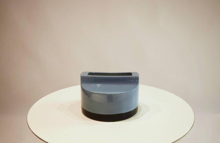 Light blue glazed ceramic vase with a navy blue border from Ettore Sottsass's
