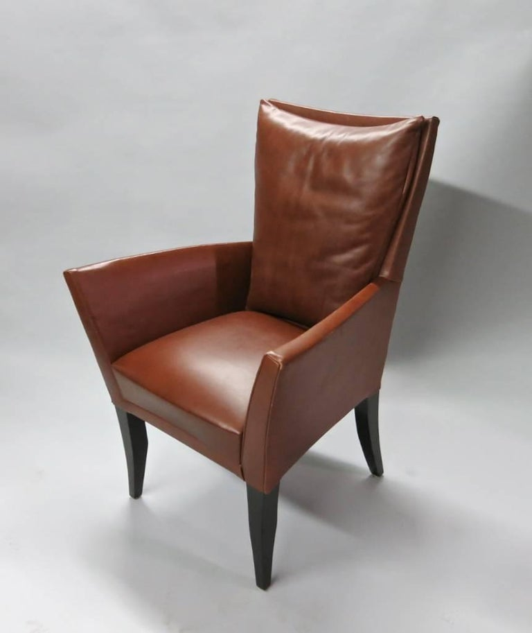 Four Leather Armchairs By Dakota Jackson Usa 1990s For Sale At 1stdibs