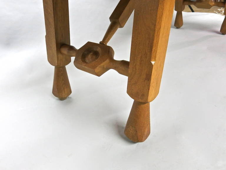 French Extending Oak Dining Table by Guillerme et Chambron, France