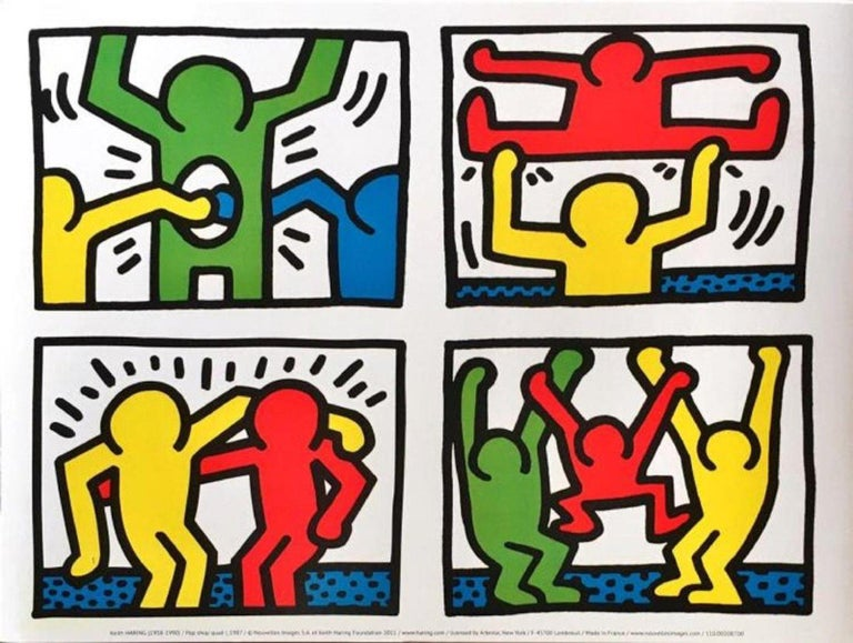 Two pristine lithographs after original screenprints by Keith Haring (May 4, 1958-Feb. 16, 1990). Bridging the gap between the art world and the street, Keith Haring rose to prominence in the early 1980s with his graffiti drawings made in the