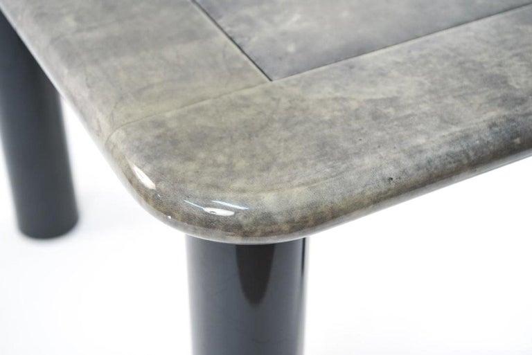 Streamlined Moderne Italian Moderne Goatskin Leather Game Table For Sale