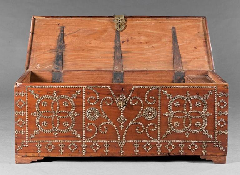 19th Century Antique Spanish Colonial-Style Hardwood Chest For Sale